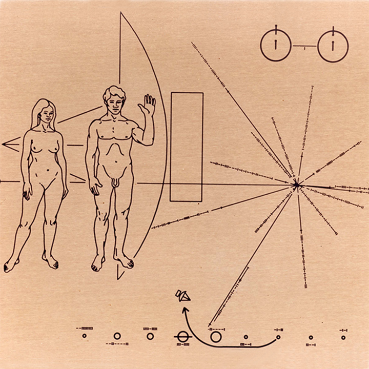 Illustration from the Voyager Spacecraft showing solar system positions and male and female figures