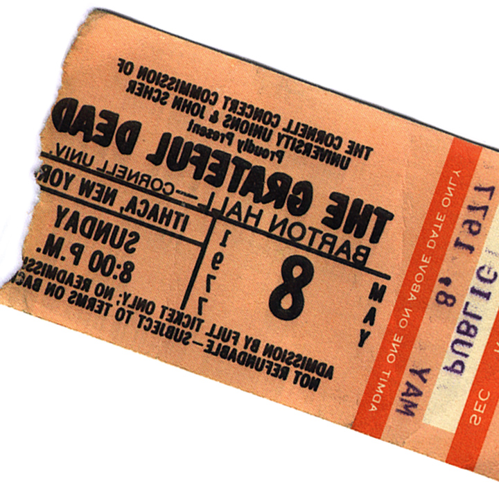 Ticket stub from Grateful Dead campus performance