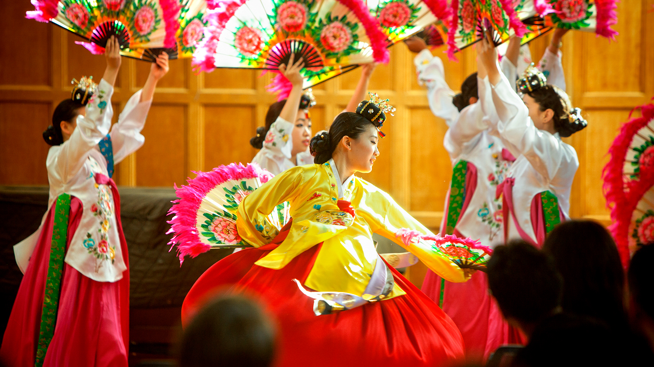 Members of the Chinese Cultural Dance Troupe perform